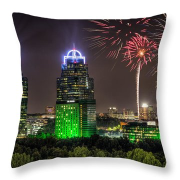 King And Queen Buildings Fireworks Throw Pillow by Anna Rumiantseva