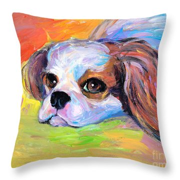 King Charles Cavalier Spaniel Dog Painting Throw Pillow by Svetlana Novikova