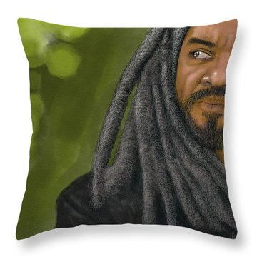 Throw Pillow featuring the digital art King Ezekiel by Antonio Romero