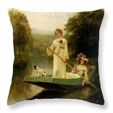 King Henry John Yeend Two Ladies Punting On The River Throw Pillow