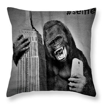 King Kong Selfie B W  Throw Pillow