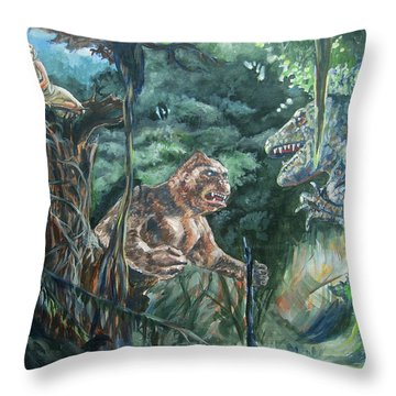 Throw Pillow featuring the painting King Kong Vs T-rex by Bryan Bustard