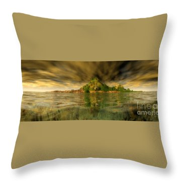 King Kongs Island Throw Pillow