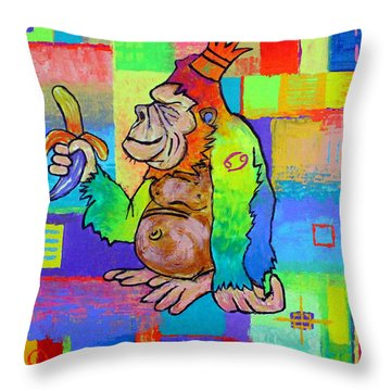 King Konrad The Monkey Throw Pillow by Jeremy Aiyadurai