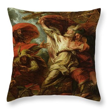 King Lear Throw Pillow by Benjamin West