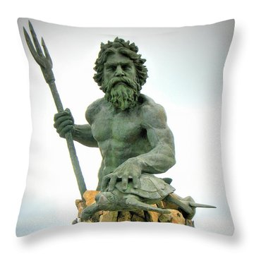 King Neptune Statue Throw Pillow