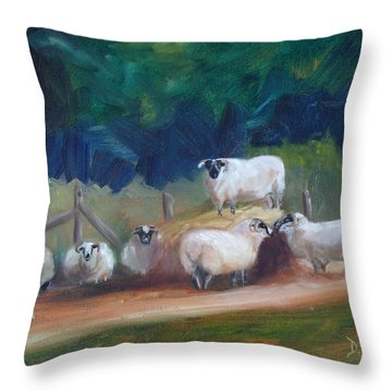 Throw Pillow featuring the painting King Of Green Hill Farm by Donna Tuten