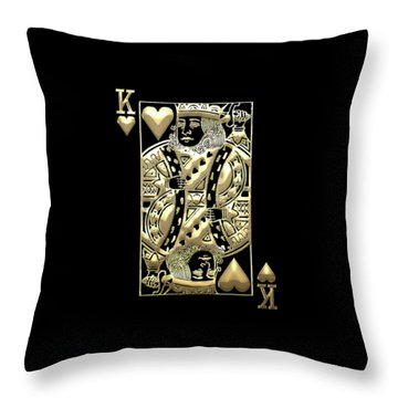 King Of Hearts In Gold On Black Throw Pillow