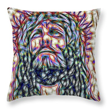 Throw Pillow featuring the painting King Of Kings Fractal Portrait by Dave Luebbert