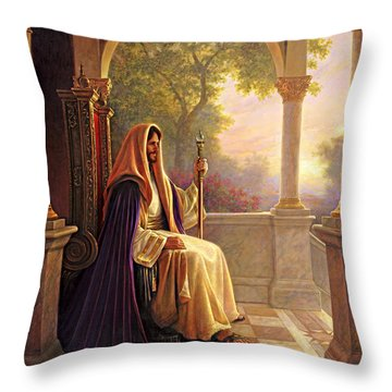 Throw Pillow featuring the painting King Of Kings by Greg Olsen