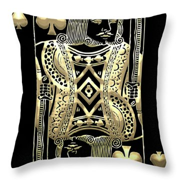 King Of Spades In Gold On Black   Throw Pillow