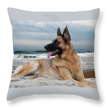 King Of The Beach - German Shepherd Dog Throw Pillow