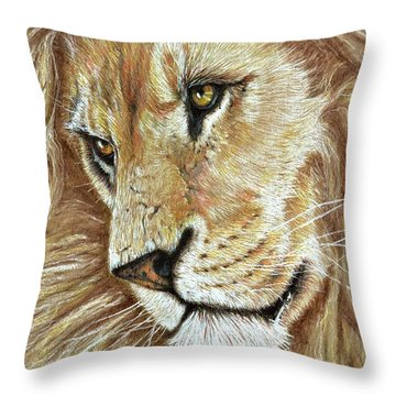 Throw Pillow featuring the drawing King Of The Jungle by Heidi Kriel