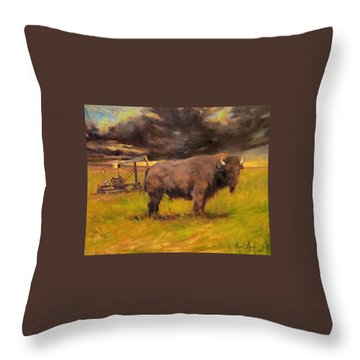 King Of The Prairie Throw Pillow by Margaret Aycock