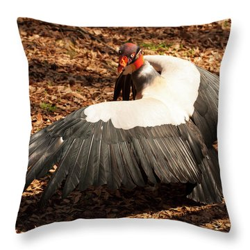 King Vulture 4 Strutting Throw Pillow by Chris Flees