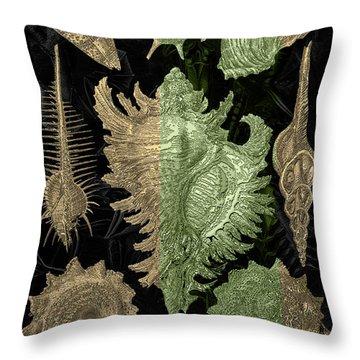 Throw Pillow featuring the digital art Kingdom Of Golden Seashells by Serge Averbukh