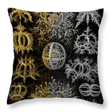 Throw Pillow featuring the digital art Kingdom Of Silver Single-celled Organisms  by Serge Averbukh