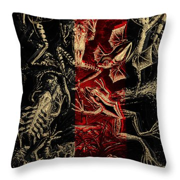 Throw Pillow featuring the digital art Kingdom Of The Golden Amphibians by Serge Averbukh