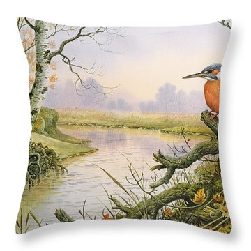 Kingfisher  Autumn River Scene Throw Pillow