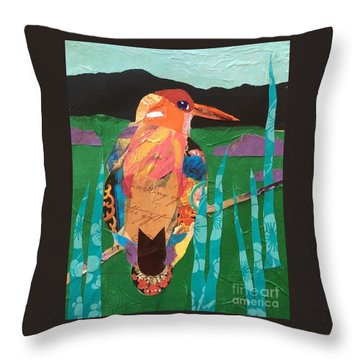 Kingfisher Throw Pillow by Barbara Tibbets