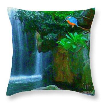Kingfisher Falls Throw Pillow