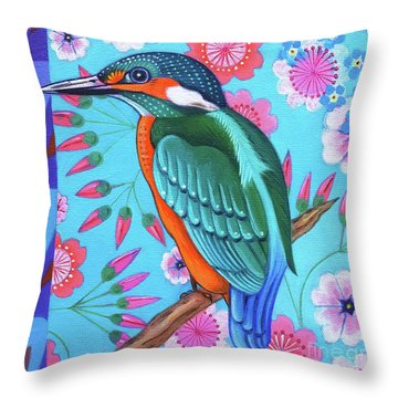 Kingfisher Throw Pillow by Jane Tattersfield