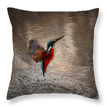 Throw Pillow featuring the painting Kingfisher by Mark Taylor