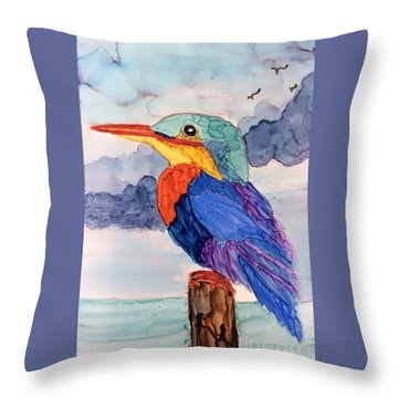 Throw Pillow featuring the painting Kingfisher On Post by Suzanne Canner
