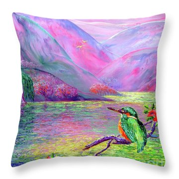 Kingfisher, Shimmering Streams Throw Pillow