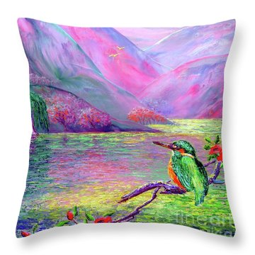 Kingfisher, Shimmering Streams Throw Pillow by Jane Small