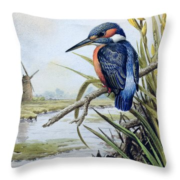 Kingfisher With Flag Iris And Windmill Throw Pillow by Carl Donner