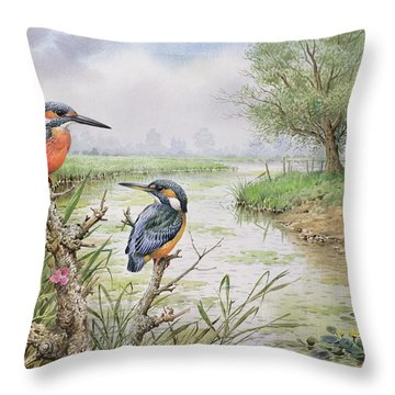 Kingfishers On The Riverbank Throw Pillow