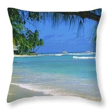 King's Beach, Barbados Throw Pillow