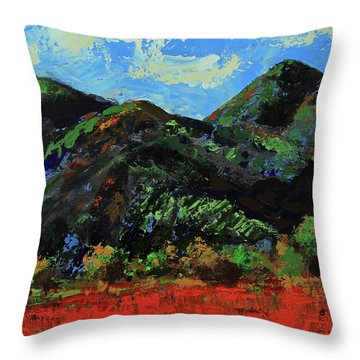 Throw Pillow featuring the painting Kings Canyon Fall Colors by Walter Fahmy