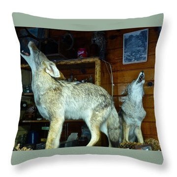 Kings Canyon Lodge Coyotes Throw Pillow by Amelia Racca