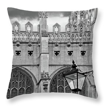 Throw Pillow featuring the photograph Kings College Chapel Cambridge Exterior Detail by Gill Billington