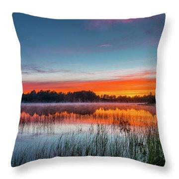 Kingston Lake Sunset Throw Pillow