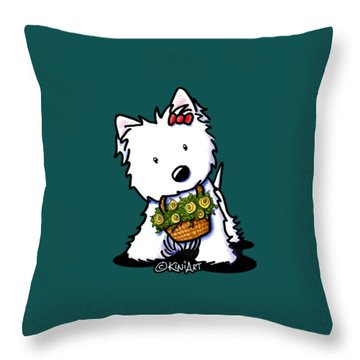 Kiniart Flower Basket Westie Throw Pillow