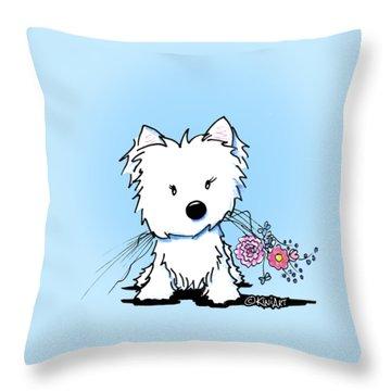 Kiniart Flower Ninja Throw Pillow by Kim Niles