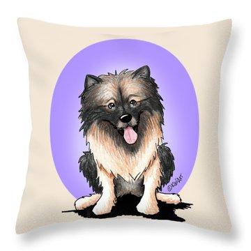 Kiniart Keeshond Throw Pillow by Kim Niles