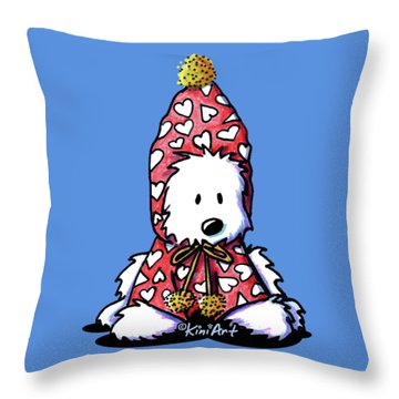 Kiniart Snowbunny Westie Throw Pillow by Kim Niles