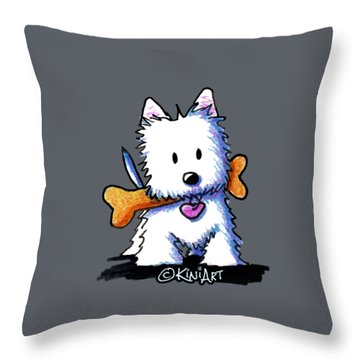 Kiniart Westie With Bone Throw Pillow