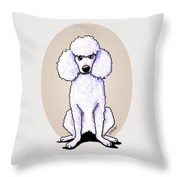 Kiniart White Poodle Throw Pillow by Kim Niles