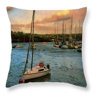 Throw Pillow featuring the painting Kinsale Harbour Evening by Jeff Kolker