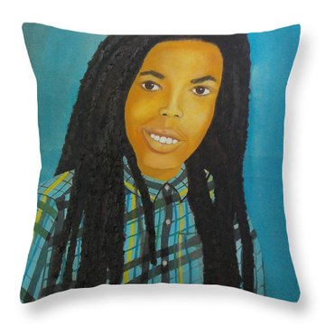 Kinshasa My First Grandchild Throw Pillow by Nicole Jean-Louis
