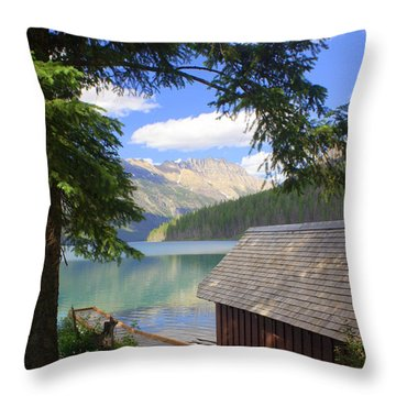 Kintla Lake Ranger Station Glacier National Park Throw Pillow
