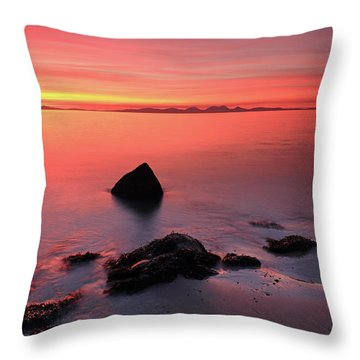 Throw Pillow featuring the photograph Kintyre Rocky Sunset 2 by Grant Glendinning