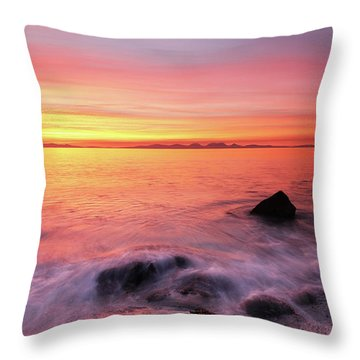 Throw Pillow featuring the photograph Kintyre Rocky Sunset 3 by Grant Glendinning