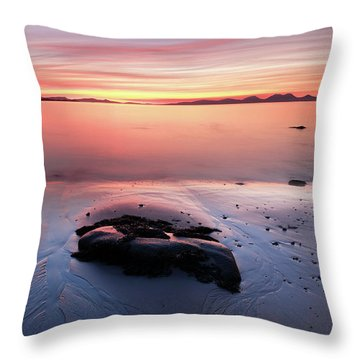 Throw Pillow featuring the photograph Kintyre Rocky Sunset 5 by Grant Glendinning
