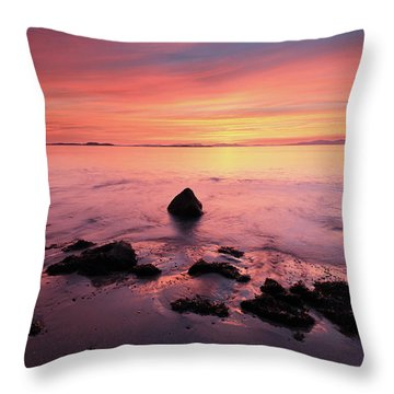 Throw Pillow featuring the photograph Kintyre Rocky Sunset by Grant Glendinning